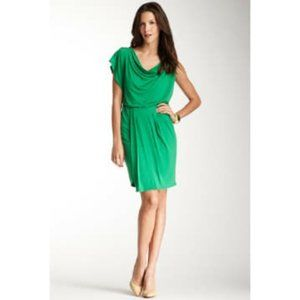 Vince Camuto Green One Flutter Sleeve Draped Dress